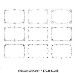 Vintage square frames set. Ornate filigree borders. Vector isolated swirl decor. Royal wedding invitation card templates.