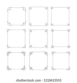 Vintage square hand drawn wedding frames set, vector isolated flourish design elements.