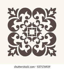 Vintage square ornament for design.
