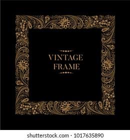Vintage square ornamental openwork golden floral frame on black background