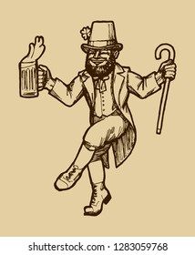 Vintage St. patrick's Day Leprechaun - realistic etching style vector illustration