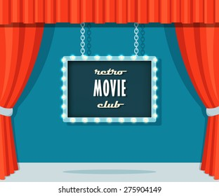 Vintage Stage with Red Curtains and Marquee Sign Retro Movie Club.