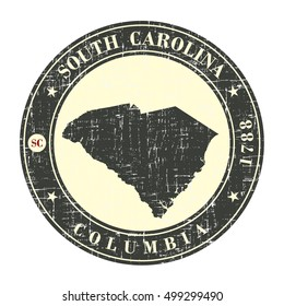 Vintage stamp with map of  South Carolina. Stylized badge with the name of the State, year of creation, the contour maps and the names abbreviations . Vector illustration