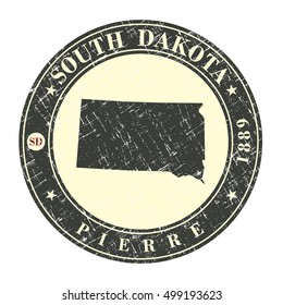 Vintage stamp with map of South Dakota. Stylized badge with the name of the State, year of creation, the contour maps and the names abbreviations . Vector illustration