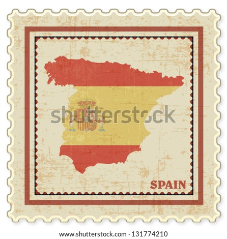 VINTAGE STAMP WITH SPAIN MAP BACKGROUND VECTOR
