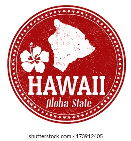 Vintage stamp with text  Aloha State written inside and map of Hawaii, vector illustration