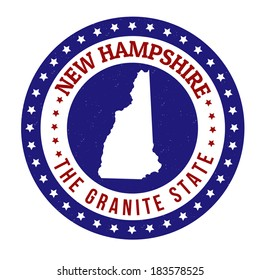 Vintage stamp with text The Granite State written inside and map of New Hampshire, vector illustration