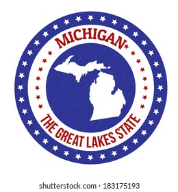 Vintage stamp with text The Great Lakes State written inside and map of Michigan, vector illustration