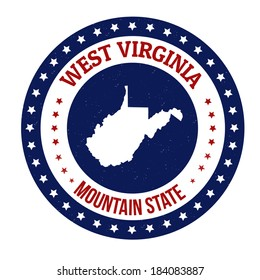 Vintage stamp with text Mountain State written inside and map of West Virginia, vector illustration