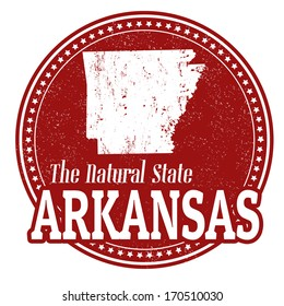 Vintage stamp with text The Natural State written inside and map of Arkansas, vector illustration
