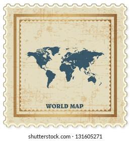 VINTAGE STAMP OF WORLD MAP BACKGROUND VECTOR