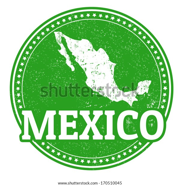 Vintage stamp with world Mexico written inside and map of Mexico, vector illustration