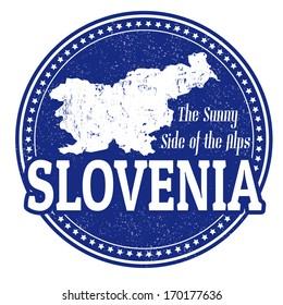 Vintage stamp with world Slovenia written inside and map of Slovenia, vector illustration