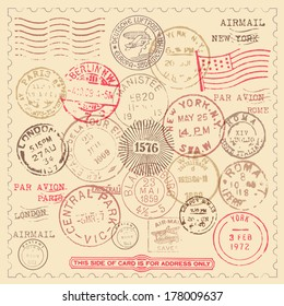 Vintage Stamps Set - Set of vintage stamps with frame.  EPS10 file with transparency.