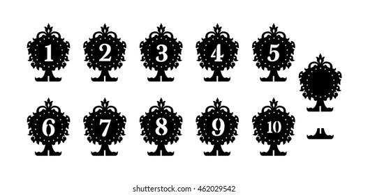 Vintage stand on the table with figures- die cut pattern. Cutout silhouette panel. Fretwork oriental background. Laser cut pattern background vector.Vector ornate ornamental panel.wood/Paper cutting