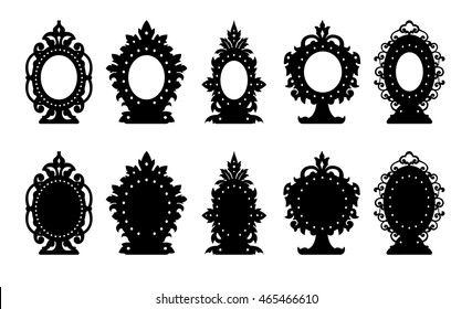 Vintage stand on the table - pattern. Cutout silhouette panel. Fretwork oriental background. Laser cut pattern background vector.Vector ornate ornamental panel.wood/Paper cutting