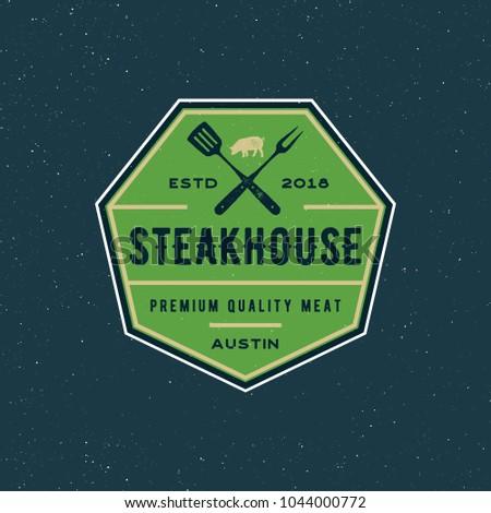 Vintage Steak House Logo Retro Styled Stock Vector (Royalty