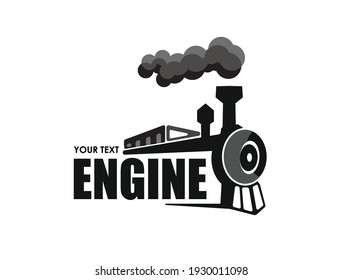 Vintage steam locomotive graphic silhouette. Vector illustration.