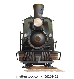 Vintage steam locomotive isolated on a white background. Cartoon vector close-up illustration.