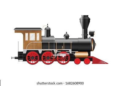 Vintage steam locomotive vector illustration isolated on white background
