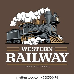 Vintage steam train locomotive, engraving style vector illustration. Logo design template.