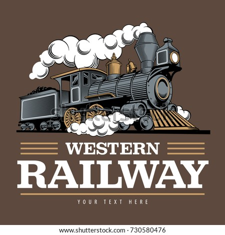vintage steam train locomotive engraving style stock vector royalty