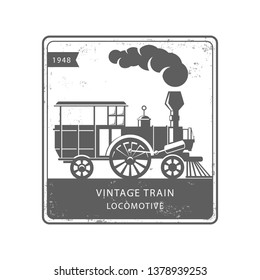 Vintage steam train locomotive logo illustration. engraving style vector illustration. Logo design template. - Vector - Vector