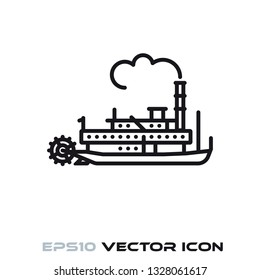 Vintage steamboat flat line icon vector illustration