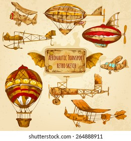 Vintage steampunk aviation colored sketch decorative icons set with zeppelin balloon and airplane isolated vector illustration