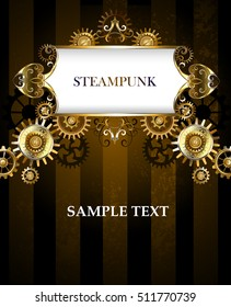 Vintage steampunk banner with gold pattern on dark striped background with gold and bronze gears.
