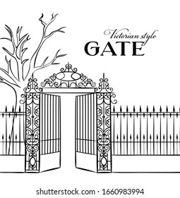 Vintage steel gates in line art style on white background. Vector illustration.