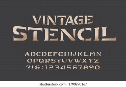 Vintage Stencil alphabet font. Serif letters and numbers. Stock vector typescript for your typography design.