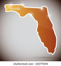 vintage sticker in form of Florida state, USA