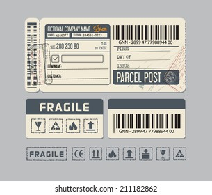 Vintage stickers for parcel post or packaging.