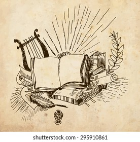 Vintage still life with symbols of different types of art. Book, harp, ancient pen and inkwell. Drawing of hand. Vector format