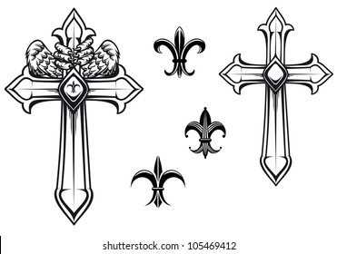 Vintage stone cross with heraldic elements for design, such logo. Jpeg version also available in gallery