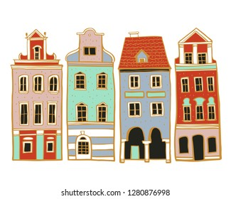 Vintage stone Europe houses. Hand drawn color  vector sketch illustration on white background