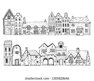 Vintage stone Europe houses. Set of old style town and village building facades in a row. Hand drawn outline vector sketch illustration black on white background