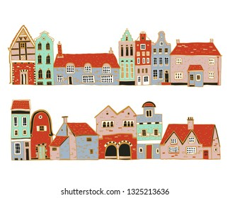 Vintage stone Europe houses. Set of old style town and village building facades in a row. Hand drawn outline vector sketch illustration color  white background