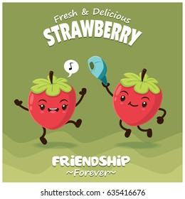 Vintage strawberry poster design with vector strawberry character.