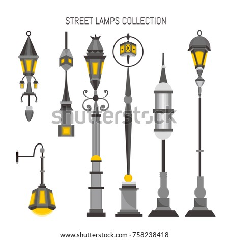 vintage street lamps vector collection stock vector royalty free