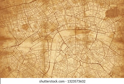 Vintage Street map of the city of London on a ruined parchment background