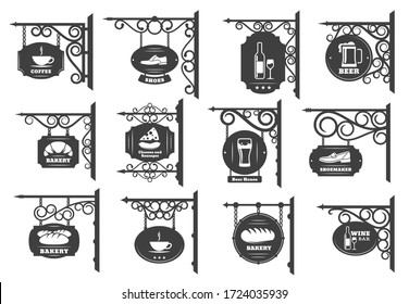Vintage street signboards vector design. Iron shop sign boards hanging on wrought metal brackets and chains with antique forged ornaments, restaurant, store and cafe, pub or bar and bakery signages