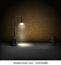 Vintage Streetlamp On Brick Wall Background. Vector Illustration.