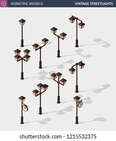 Vintage Streetlights or Retro Street Lamp Lights Isolated on White. Isometric Vector Illustration.