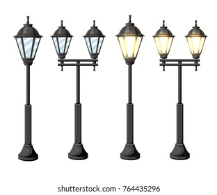 Vintage streetlights. Vector retro street lamp lights isolated on white background isolated on white background Web site page and mobile app design.