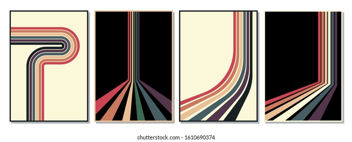 Vintage Striped Backgrounds, Posters, Banner Samples, Retro Colors from the 1970s