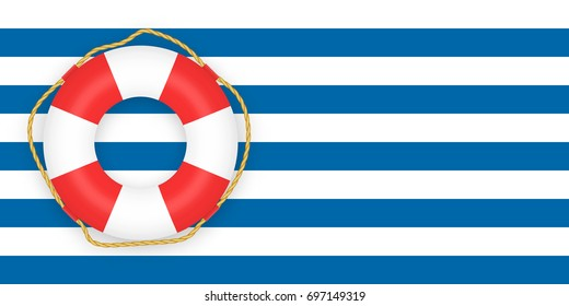 Vintage striped blue background with ring buoy. Place for your text. lifesaver as symbol of safety
