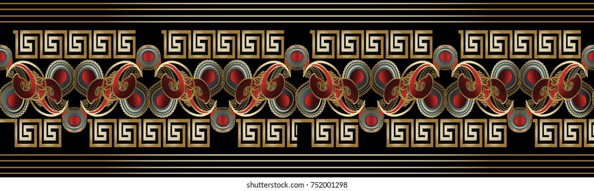 Vintage striped paisley seamless border pattern. Bright black red gold floral background. 3d paisley flowers, stripes, lines, meander greek key ornaments. Silk wallpaper fabric design. Luxury texture
