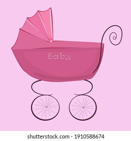 """Vintage stroller in pink with the word """"baby"""""""